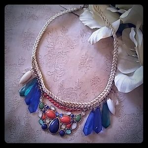 Jewelry - Colorful Lucite Cabochons & Faceted Dangles Choker